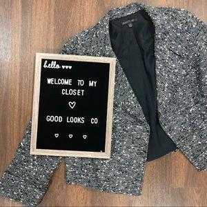 Lafayette 148 NY   Black White Wool Open Jacket